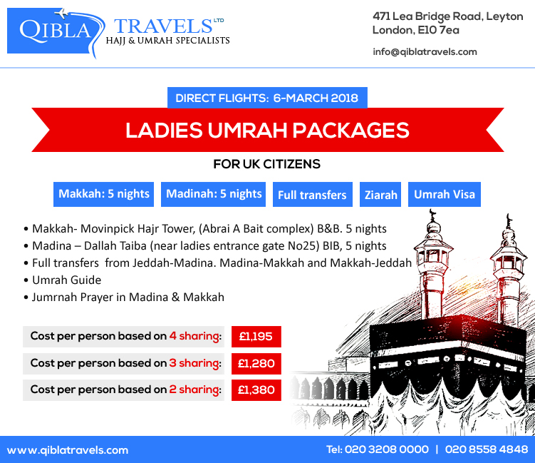 Umrah Banner: Ladies Umrah Package UK (Age 45+)