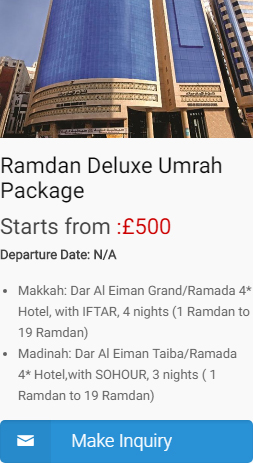Deluxe Ramadan umrah packages